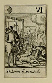 The Popish Plot playing card of Pickering being executed.