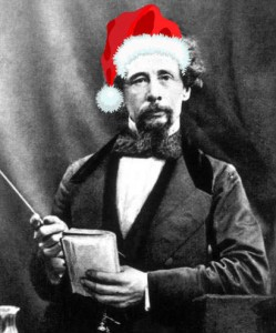 Charles Dickens in a Christmas hat