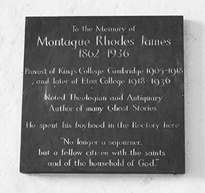 M.R. James memorial plaque, Great Livermere church