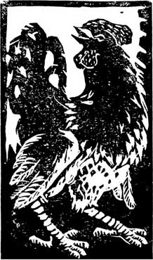 Cockerel Woodcut